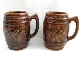 2 Vintage BLATZ Beer Brown Barrel Bar Mug Set Glazed Pottery Stein Adver... - $14.84