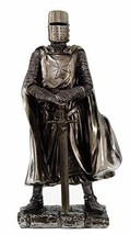 "Crusader Knight Statue Silver Finishing Cold Cast Resin Statue 7"" (8712) - $20.99"
