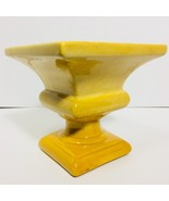 Art Pottery Large Yellow Square Pedestal Vase Compote Bowl Unknown Maker - $15.99