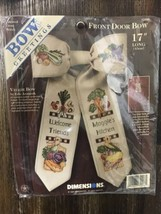 """Vtg Retired 1998 Dimensions 17"""" Bow Greetings Front Door Bow House Veggie 72496 - $59.99"""