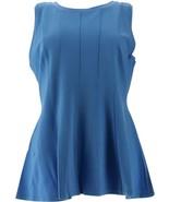 H Halston VIP Ponte Slvless Peplum Top Seams Rain Blue L NEW A290685 - $39.58