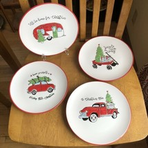 Amylee Weeks Certified International Christmas Salad Plates Camper Truck Wagon - $49.50