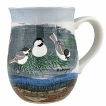 Otagiri Black Capped Chickadees Mug Pottery Birds Coffee Cup Morgan Japa... - $19.95