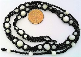 White Mother Of Pearl Black Beaded Daisy Chain Necklace - $10.15