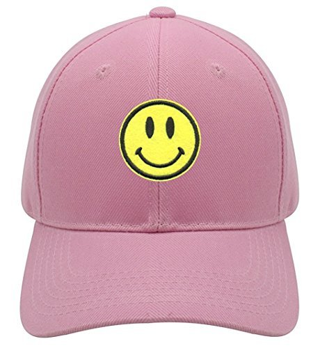 Smiley Face Hat - Adjustable Pink/Yellow Cap - Happy Smile Emoji