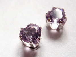 Purple Amethyst Cabochon Heart Stud Earrings 925 Sterling Silver Corona Sun - $14.84