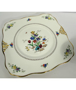"""Tuscan English Bone China 9"""" Square Cookie Plate Floral Gold Trim 1920s - $19.79"""
