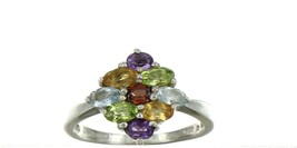 Ladies Size 9 Sterling Silver Multi Color Gemstone Cluster Fashion Ring No. 2134