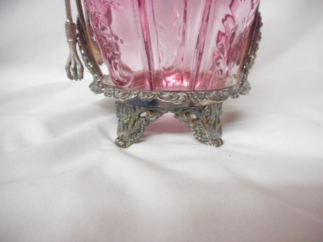 Antique Northwood Glass Srig Pattern Victorian Pickle Castor with Tongs