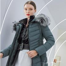 Women's Famous Brand Designer Full Length Quilted Fur Lined Hooded Puffer Parka  image 3