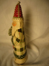 Vaillancourt Folk Art Father Christmas in Plaid with Ski Stocking & Bell Signed image 2
