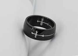 Titanium Ring w/Cross Charm - One Item w/Random Color and Design (silver-plat... image 1