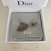 AUTHENTIC Christian Dior J'ADIOR Bee Wasp Gold Asymmetrical EARRINGS RECEIPT image 2