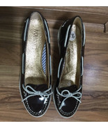 SPERRY TOP-SIDER  Patent Leather Brown/ White Wedges Boat Shoes Size 8.5 - $27.67
