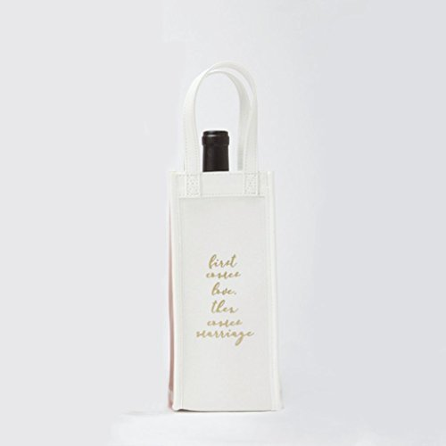 "8 Oak Lane EC087FIR Canvas First Comes Love Wine Bag, 10"" x 4.5"" x 4.25"", White"