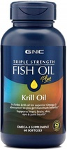 GNC Triple Strength Fish Oil Plus Krill Oil, 60 Softgels, for Join, Skin... - $106.92