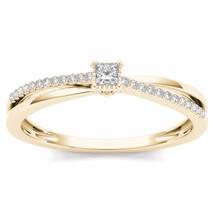 IGI Certified 10k Yellow Gold 0.13 Ct Princess Diamond Engagement Ring - $186.99