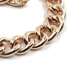 18K ROSE GOLD BRACELET ONDULATE ROUNDED GOURMETTE CUBAN CURB LINKS 9.5 mm, 18cm image 2