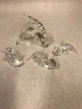 Lot 4  glass Crystal Figurine Paperweight  Vintage  Animals DOLPHINS fish - $14.84