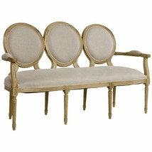 Chic Shabby Natural Oak Wood Oatmeal Linen Medallion Settee,61.5''L x 39''H - $2,470.05