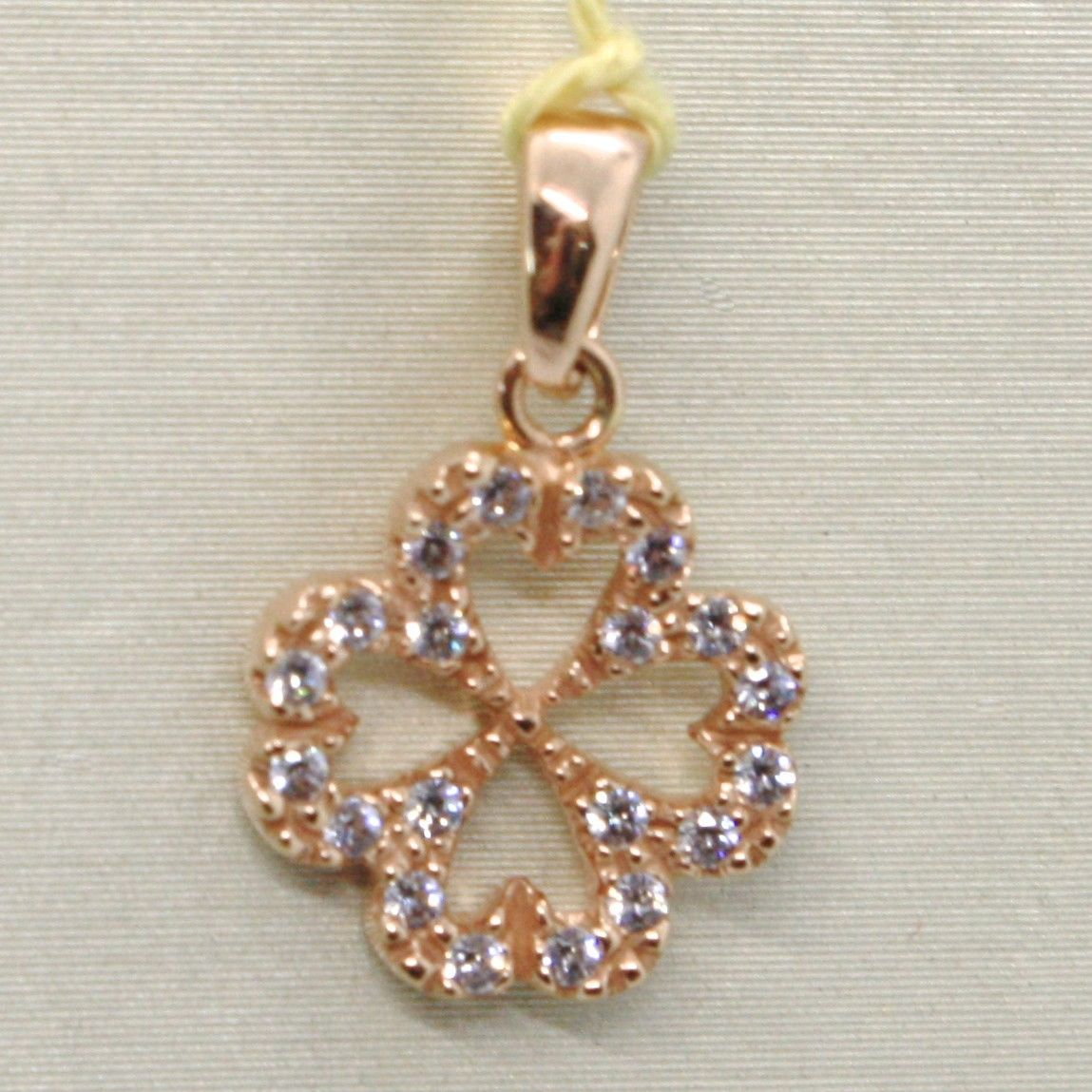 18K ROSE GOLD LUCKY FOUR LEAF PENDANT CHARM CUBIC ZIRCONIA BRIGHT, MADE IN ITALY