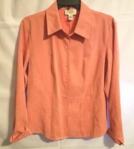 TALBOTS  Suede like Salmon color Long style Button down shirt SZ M  - $10.89