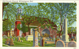 Vintage Old Swede Church Postcard Wilmington Delaware Linen Finish Unused - $2.50