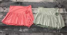 Lot of 2 Abercrombie & Fitch Juniors Coral and Mint Mini Skirts Size Small - $14.01
