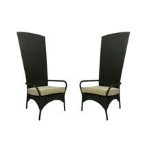 CC Outdoor Living 2 Black Resin Wicker Outdoor Patio King Chairs Beige C... - $993.70