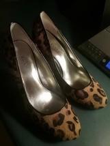 Womens Brown Leopard Print ALFANI Animal Pony Calf Hair Heels Shoes Sz 7... - $29.69