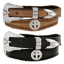 """Cowboy Silver Cross -  Concho Genuine Leather Western Belt 1-3/8"""" to 1"""" ... - $33.25"""