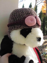 CROCHETED WOOL ART AVIATOR HAT PINK GOGGLES HAND CRAFTED Vintage Women's... - $14.24
