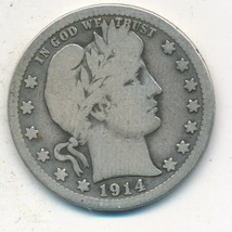 1914-S BARBER SILVER QUARTER-KEY DATE! NICE CIRCULATED QUARTER-SHIPS FRE... - $149.95