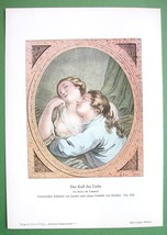 FRENCH LOVERS Passionate Kiss - 1909 Color Print - $13.05