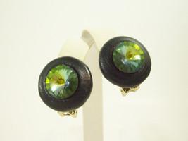 SEA GREEN RIVOLI BLACK LEATHER LOOK BUTTON CLIP ON EARRINGS RHINESTONE V... - $14.84