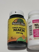 3 Bottles-Niacin Tablets 500mg, 100ct Nature's Blend-100ct- Nature's Bounty-50ct - $16.82