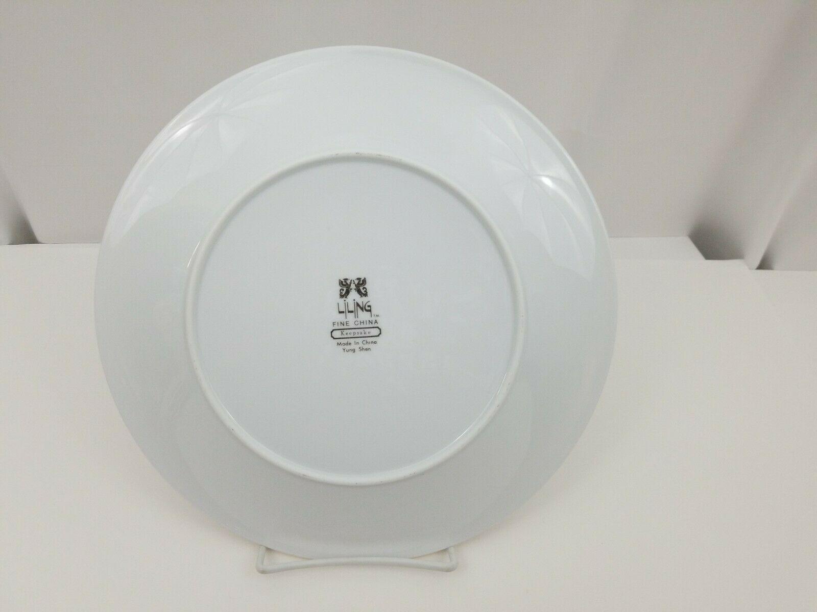 "Liling Fine China Dinner Plates Set of 4 Yung Shen White Roses Keepsake 10 5/8"" image 10"