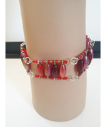 red beaded wire cuff bracelet glass acrylic eye pin bead handmade jewelry - $6.99