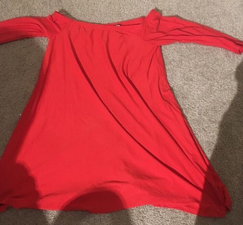 Planet Gold Chinese Red Off The Shoulder Short Dress XL Long Sleeve NWT
