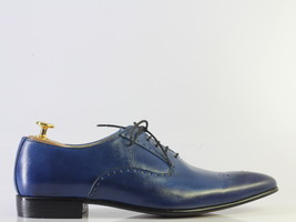 Handmade Men's Blue Leather Heart Medallion Lace Up Dress/Formal Oxford Shoes image 2