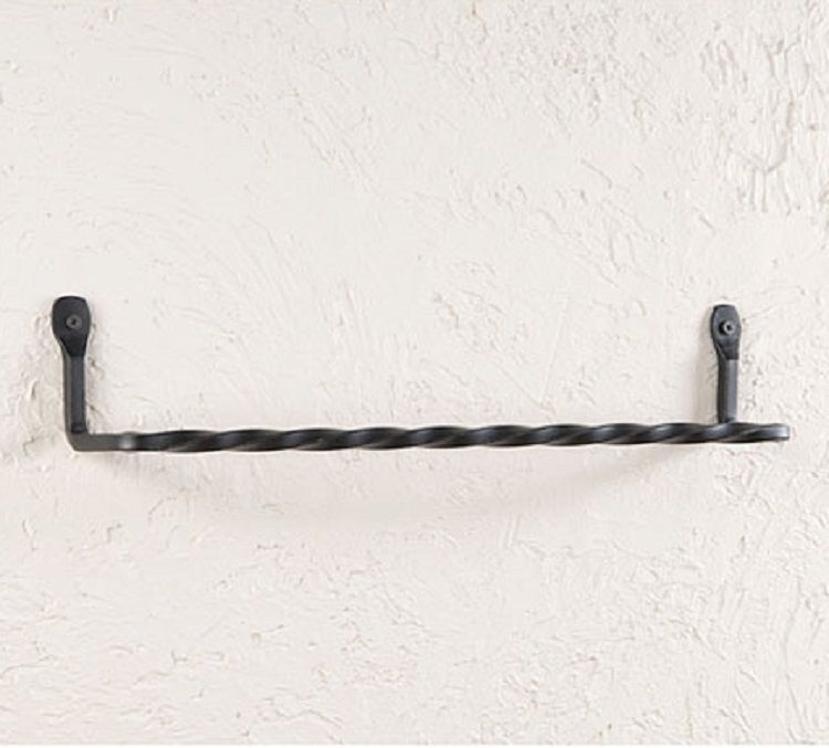"Primary image for 16"" TWISTED WROUGHT IRON WALL TOWEL BAR Primitive Colonial USA Amish Blacksmith"