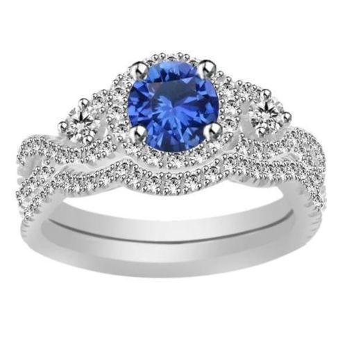 White Gold Plated 925 Silver Round Cut Blue Sapphire Bridal Engagement Ring Set