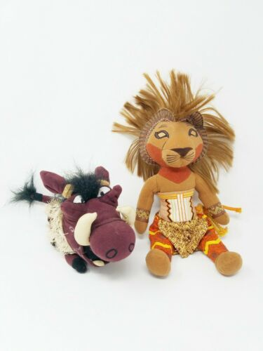Primary image for The Lion King Disney Simba and Pumbaa Broadway Musical stuffed plush set of 2