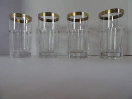Faberge Chaine d'Or Highball Glasses Clear Crystal 24K Gold Trim  set of 4 - $695.00