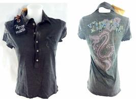 Women's gray cotton polo shirt VIPERINE stones Made in Italy RARE tg S - $122.00