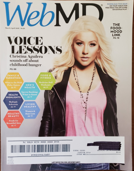 Primary image for Christina Aguilera, Laura Prepon on WebMD March/April 2016 Issue