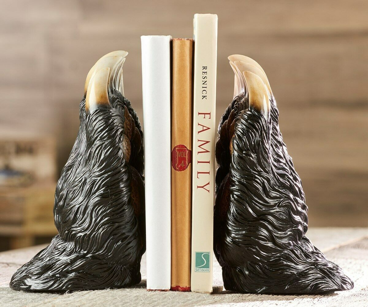 """7.3"""" Bear Paw Design Bookends Designed with Claws Polyresin"""
