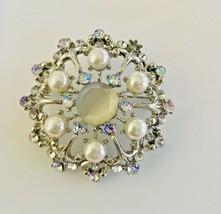 Vintage Domed Cluster Aurora Borealis Rhinestones Faux Pearl Brooch Pin ... - $18.04