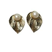 Vintage Gold Tone Leaf Earrings Faux Pearl Statement Runway Large Leaves - $29.69