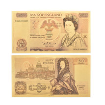 WR Great Britain UK 50 Pound Color Gold Banknote QE II Money Collection ... - $1.80